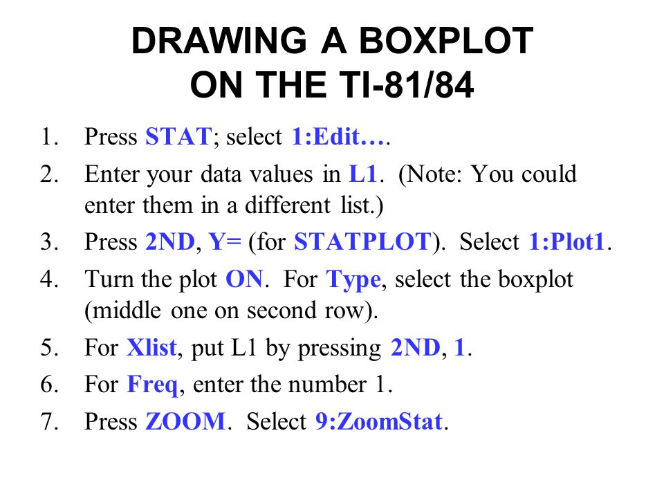 DRAWING A BOXPLOT ON THE TI-81/84