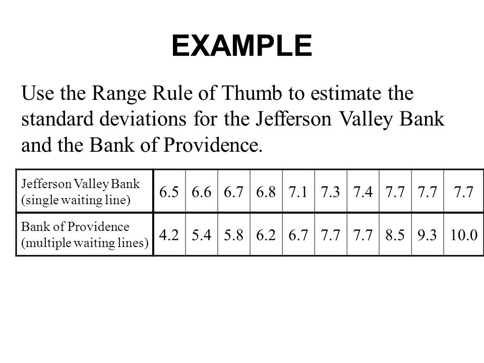 EXAMPLE Use the Range Rule of Thumb to estimate the standard deviations for the Jefferson Valley Bank and the Bank of Providence.