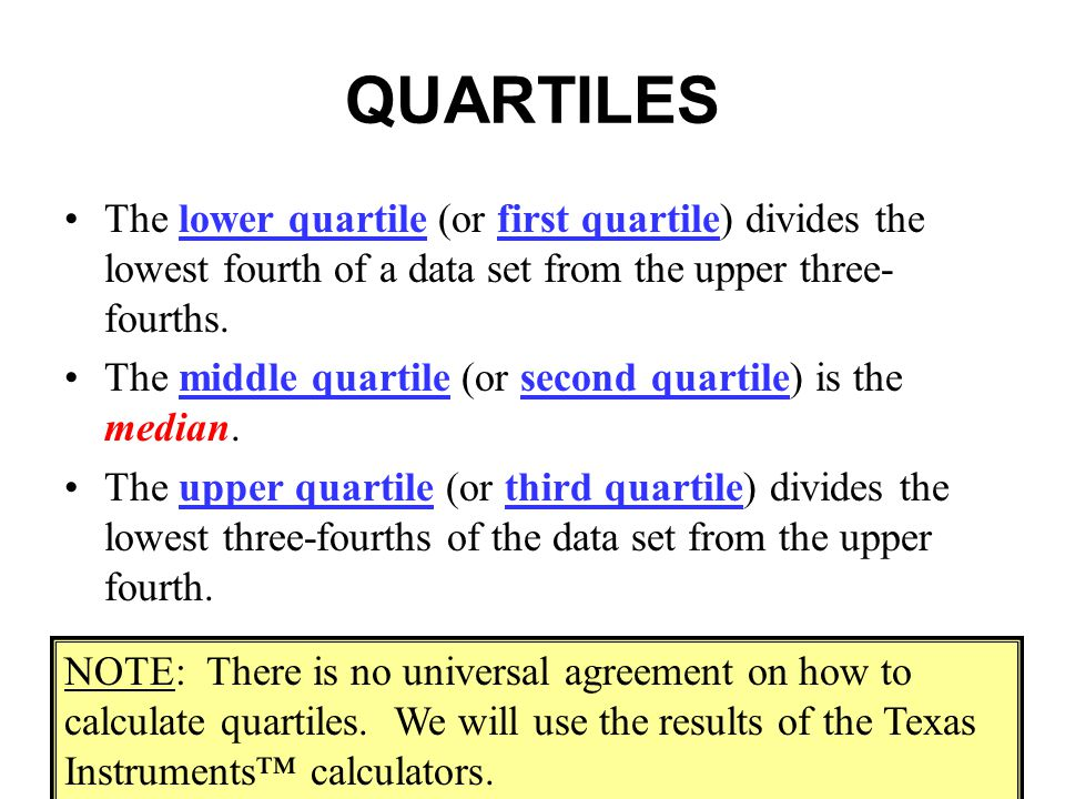 QUARTILES The lower quartile (or first quartile) divides the lowest fourth of a data set from the upper three-fourths.