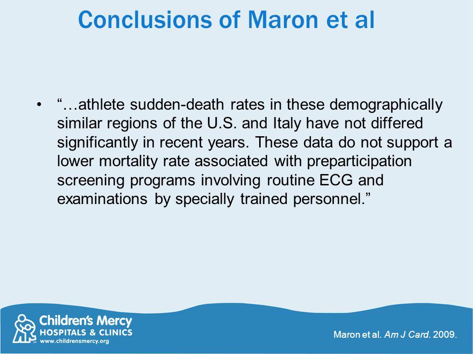 Conclusions of Maron et al