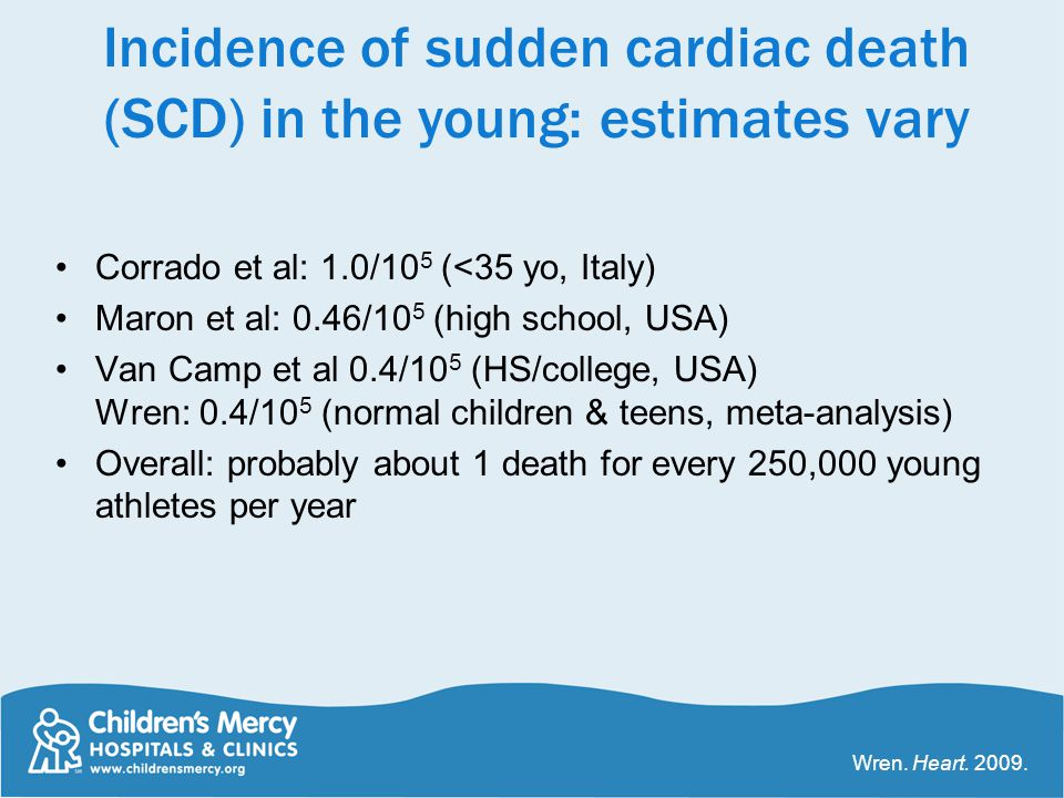 Incidence of sudden cardiac death (SCD) in the young: estimates vary