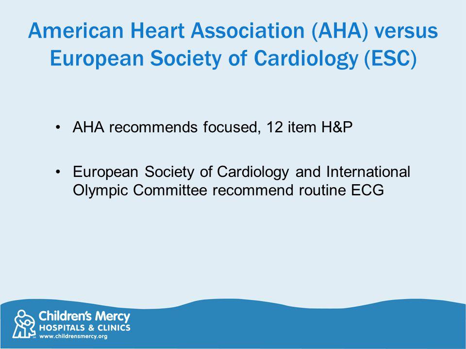 American Heart Association (AHA) versus European Society of Cardiology (ESC)