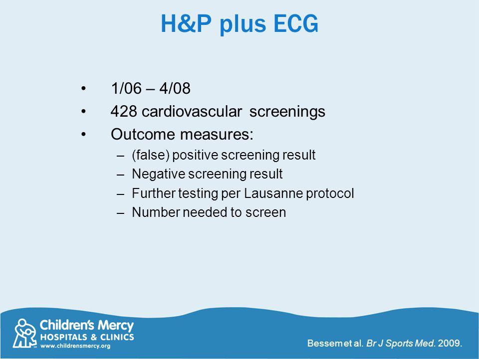 H&P plus ECG 1/06 – 4/08 428 cardiovascular screenings