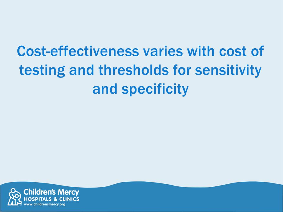 Cost-effectiveness varies with cost of testing and thresholds for sensitivity and specificity