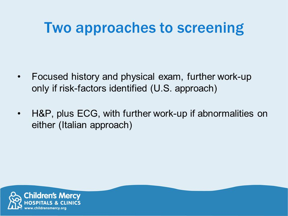 Two approaches to screening
