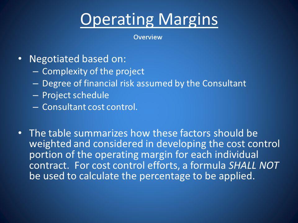 Operating Margins Negotiated based on: