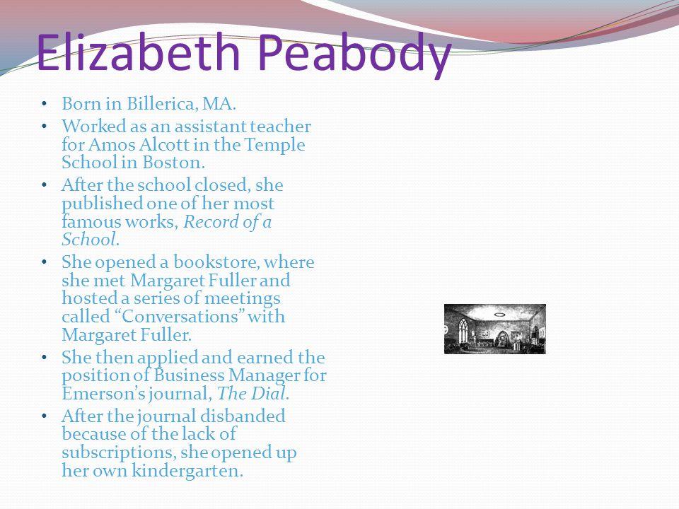 Elizabeth Peabody Born in Billerica, MA.