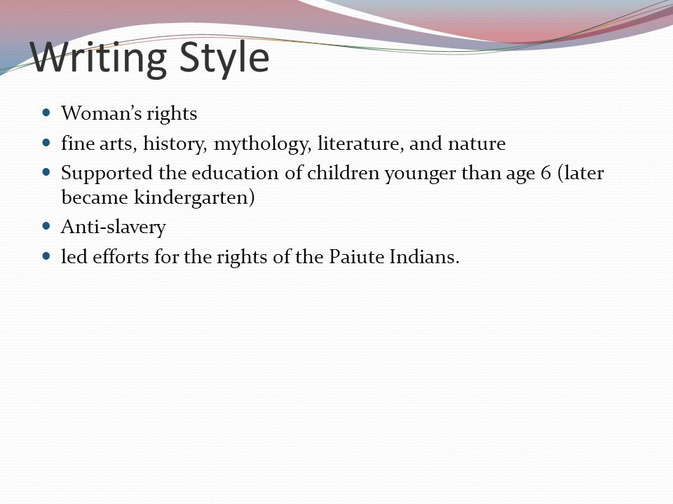 Writing Style Woman's rights