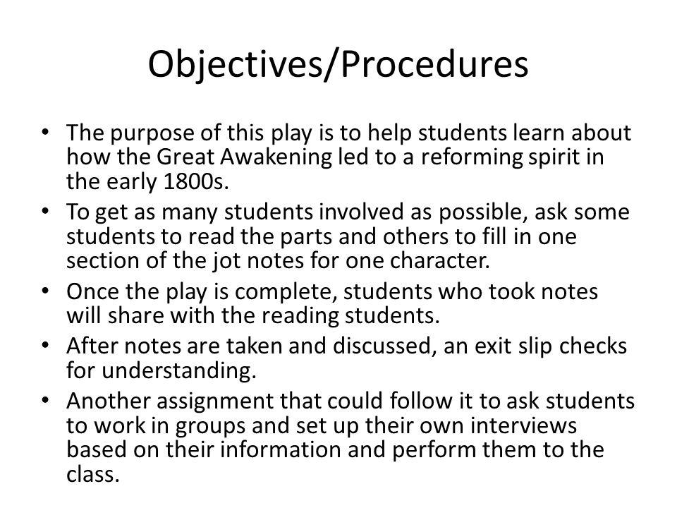 Objectives/Procedures