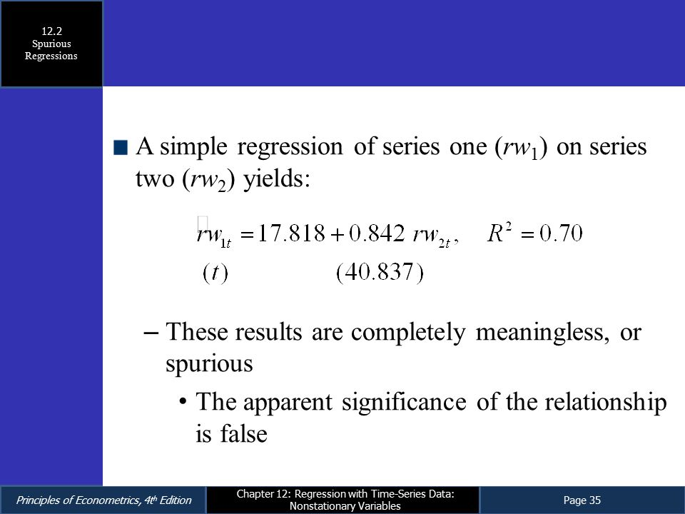 A simple regression of series one (rw1) on series two (rw2) yields: