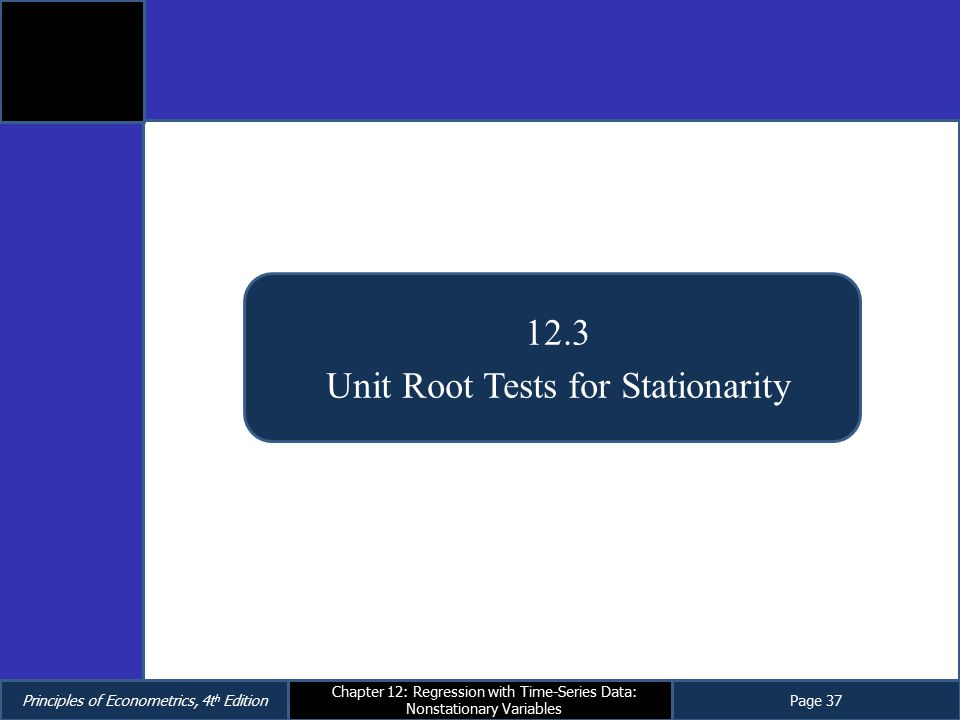 Unit Root Tests for Stationarity