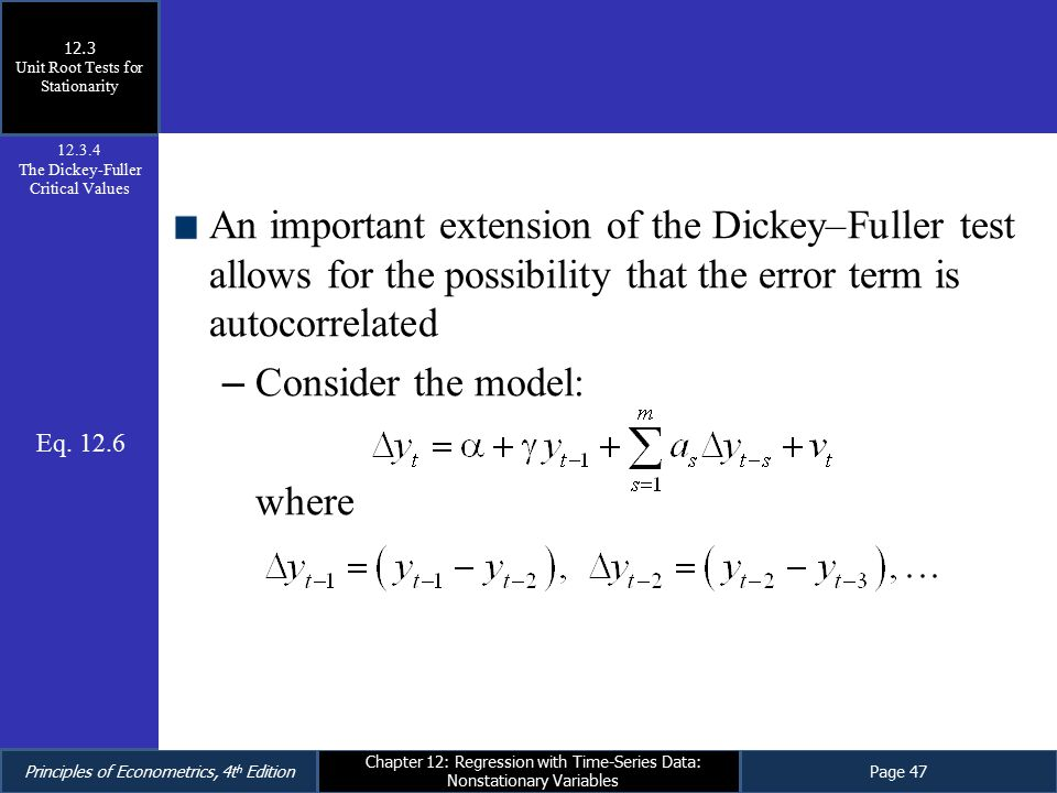 12.3 Unit Root Tests for Stationarity. 12.3.4. The Dickey-Fuller Critical Values.