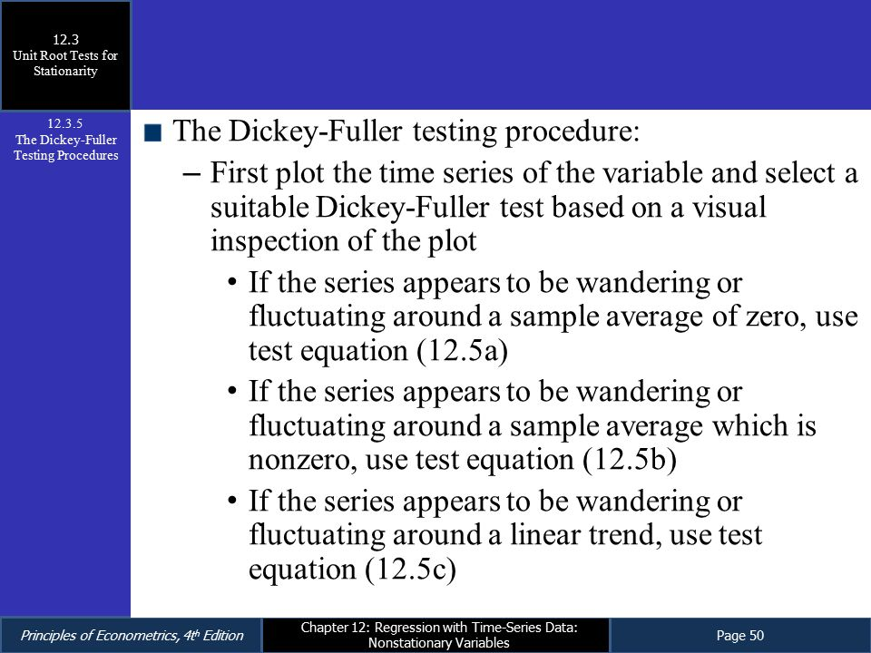 The Dickey-Fuller testing procedure:
