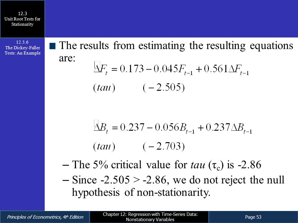 The results from estimating the resulting equations are: