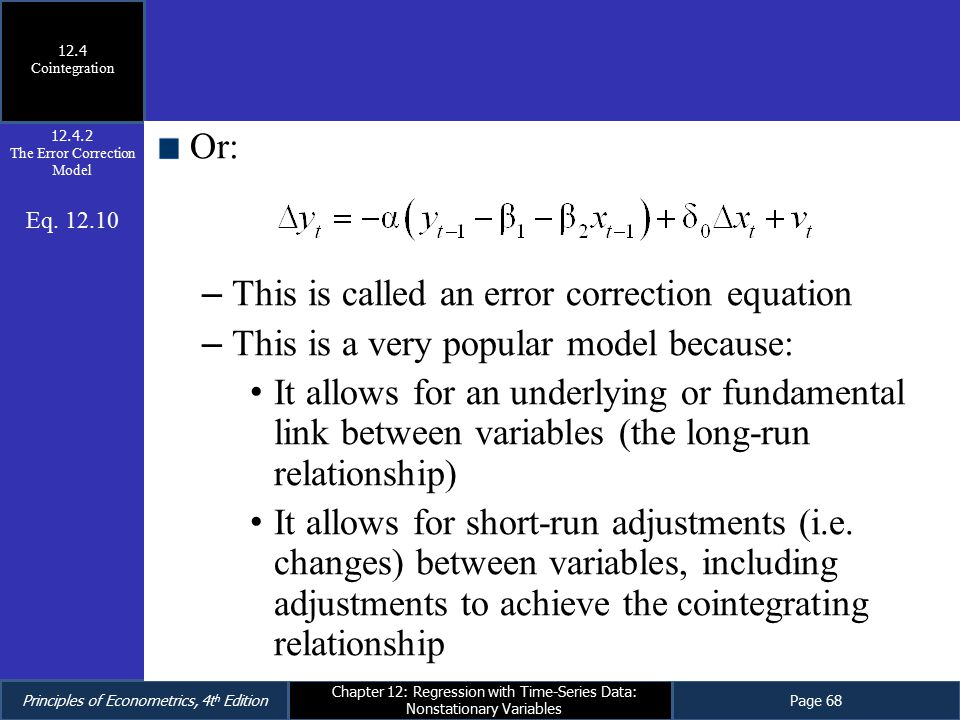 an essay on cointegration and error correction models Lecture 4: cointegration and error correction models – prof guidolin getting intuition through one realistic case 25 this model is balanced if and only if lp.