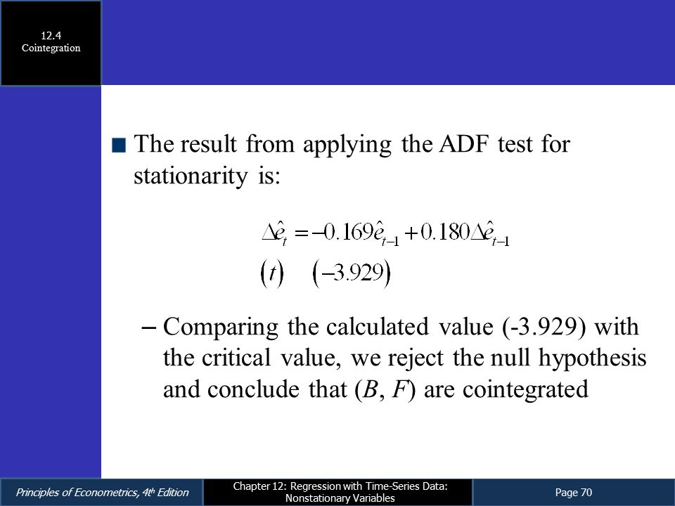 The result from applying the ADF test for stationarity is: