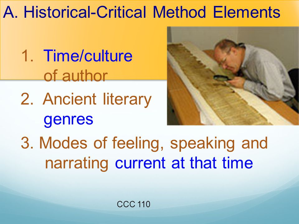 A. Historical-Critical Method Elements