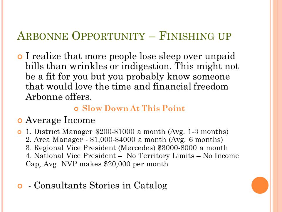 Arbonne Opportunity – Finishing up