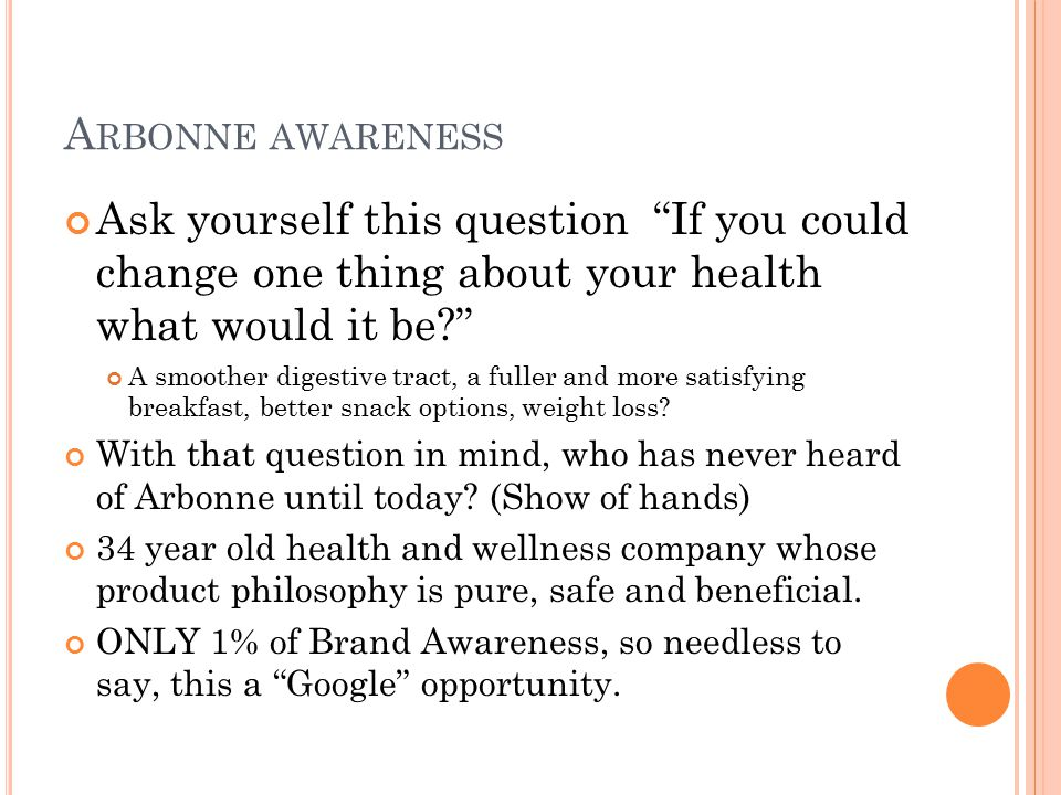 Arbonne awareness Ask yourself this question If you could change one thing about your health what would it be