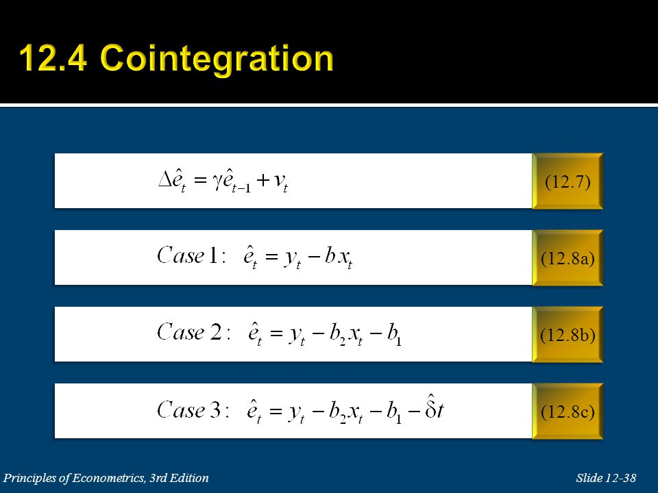 12.4 Cointegration (12.7) (12.8a) (12.8b) (12.8c)