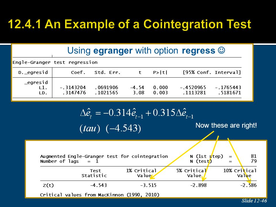 12.4.1 An Example of a Cointegration Test