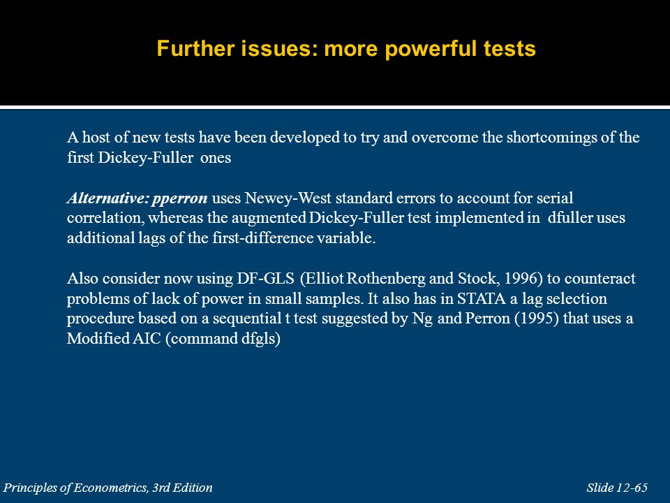 Further issues: more powerful tests