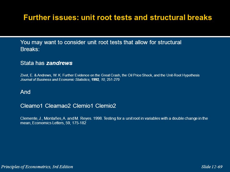 Further issues: unit root tests and structural breaks