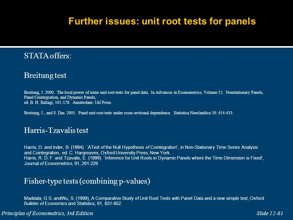 Further issues: unit root tests for panels