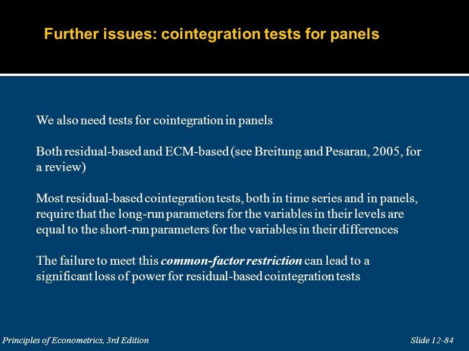 Further issues: cointegration tests for panels