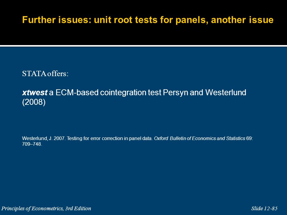 Further issues: unit root tests for panels, another issue