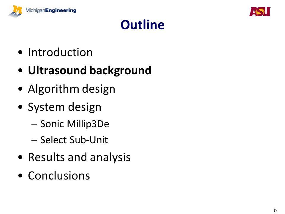 Outline Introduction Ultrasound background Algorithm design
