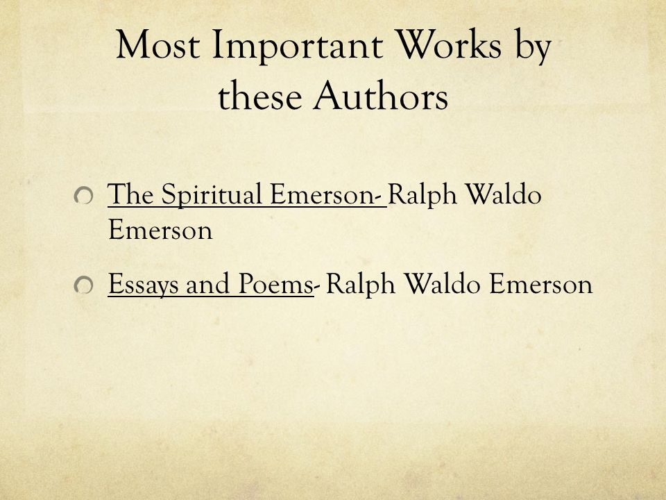 Most Important Works by these Authors