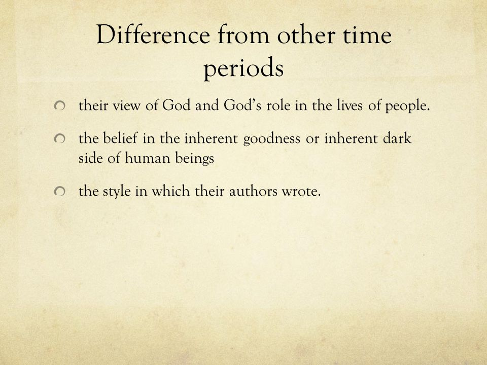 Difference from other time periods