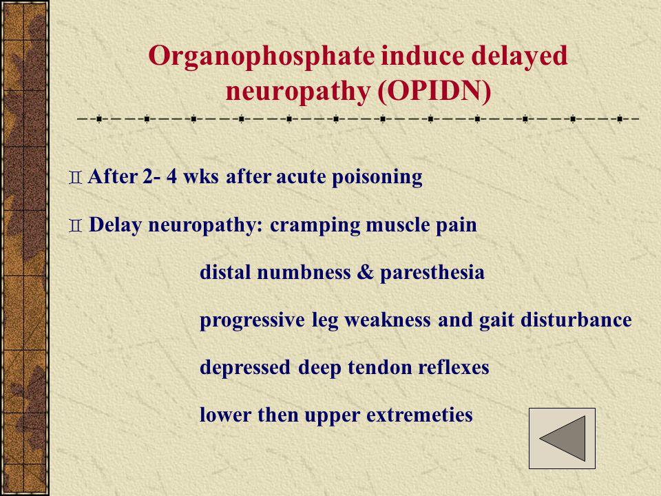 Organophosphate induce delayed neuropathy (OPIDN)