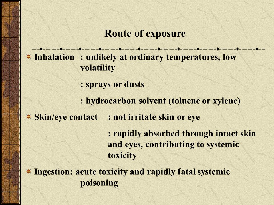 Route of exposure Inhalation : unlikely at ordinary temperatures, low volatility. : sprays or dusts.