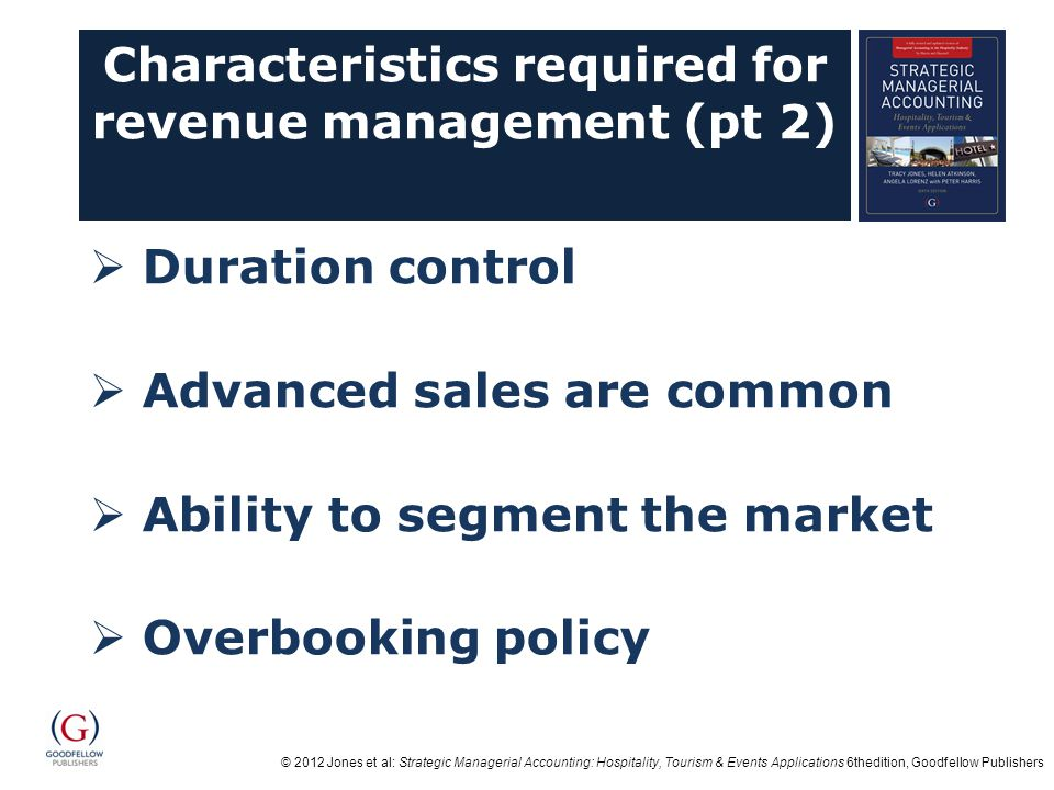 Characteristics required for revenue management (pt 2)