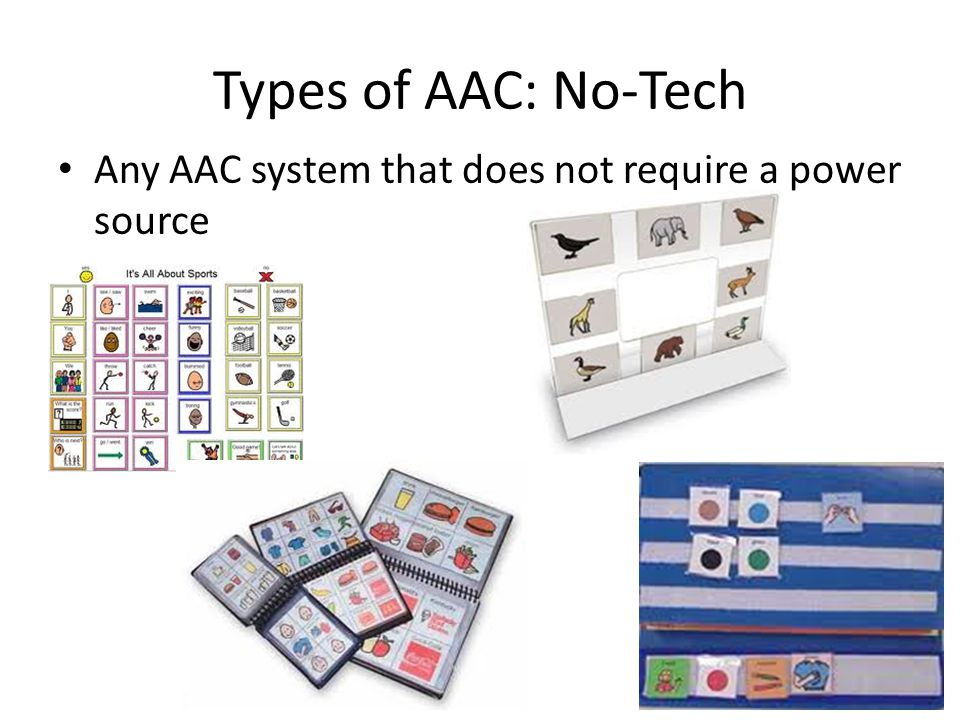 Types of AAC: No-Tech Any AAC system that does not require a power source