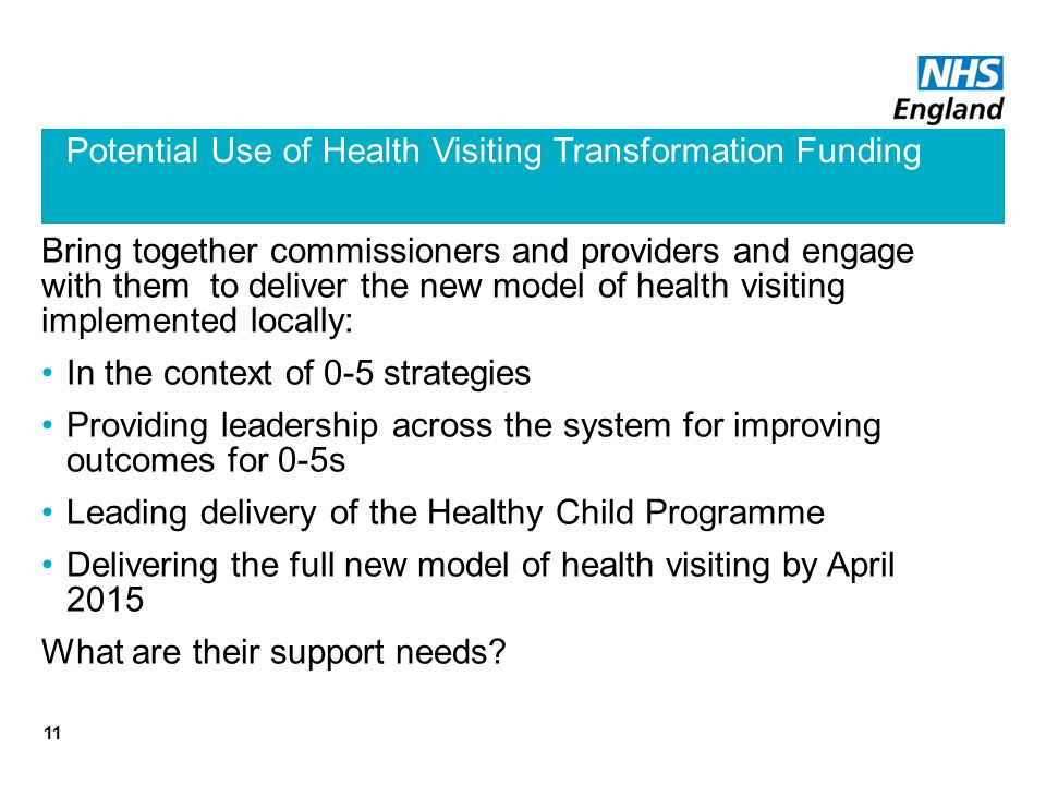 Potential Use of Health Visiting Transformation Funding