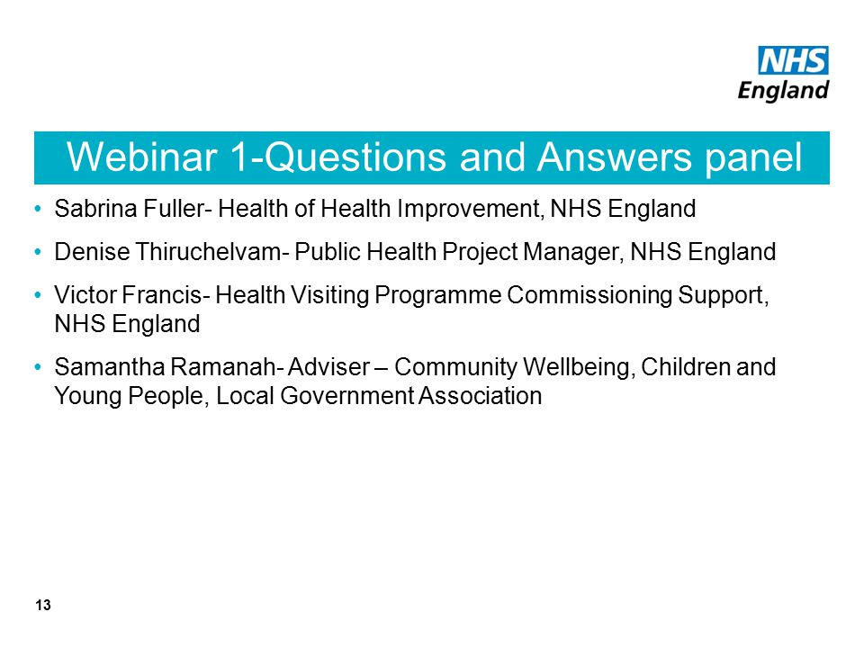 Webinar 1-Questions and Answers panel