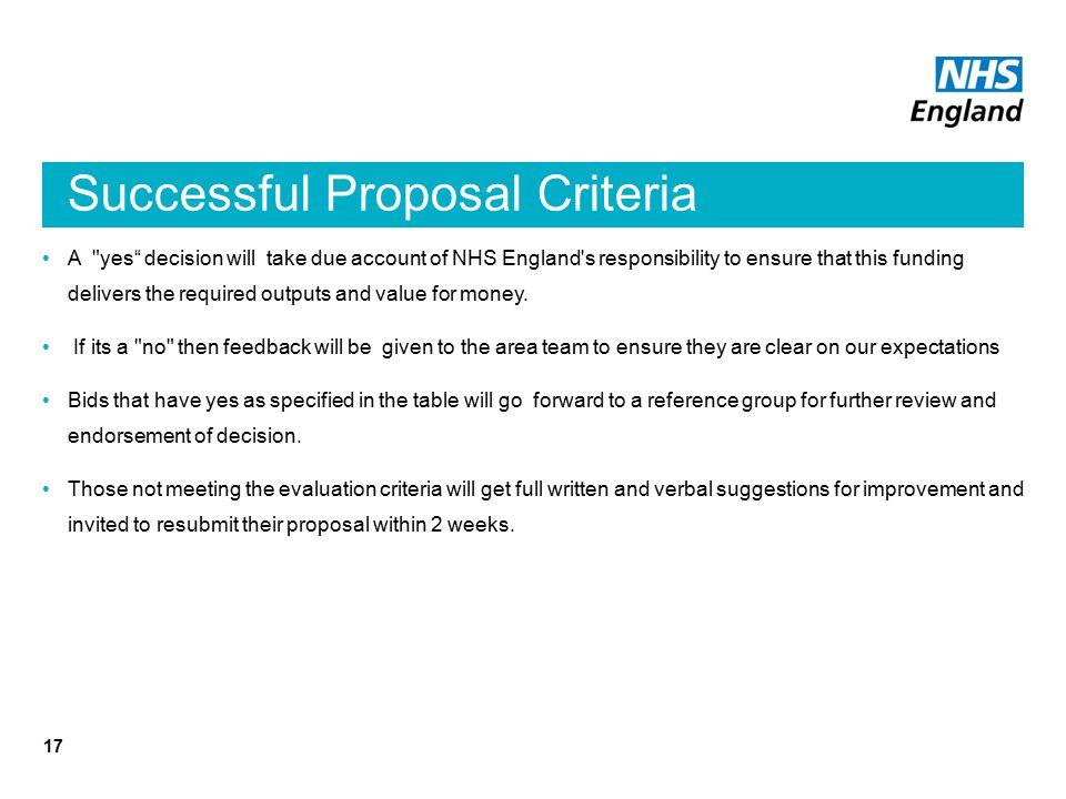 Successful Proposal Criteria