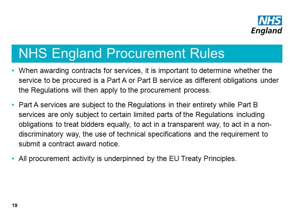 NHS England Procurement Rules