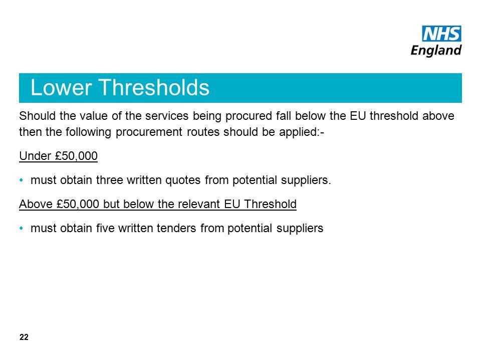 Lower Thresholds