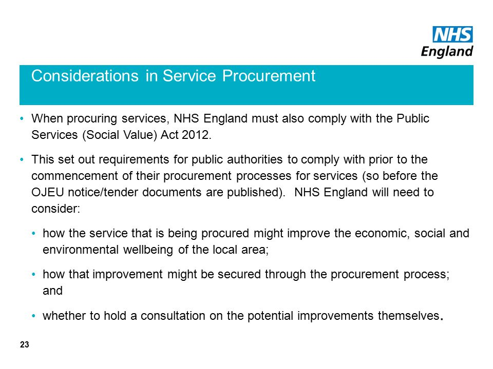 Considerations in Service Procurement