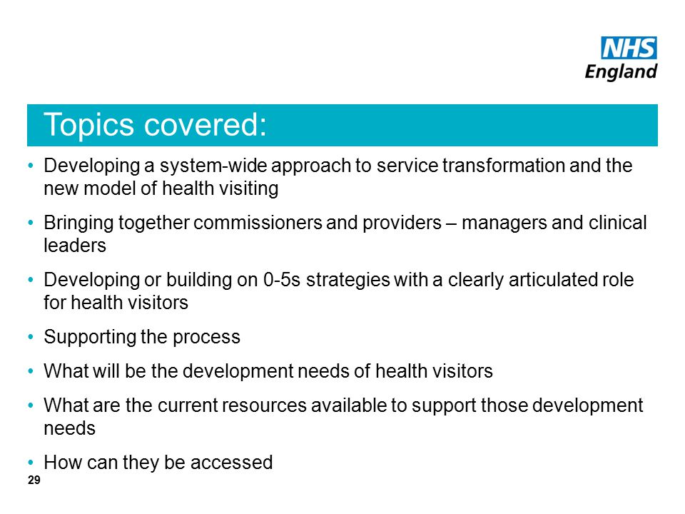 Topics covered: Developing a system-wide approach to service transformation and the new model of health visiting.