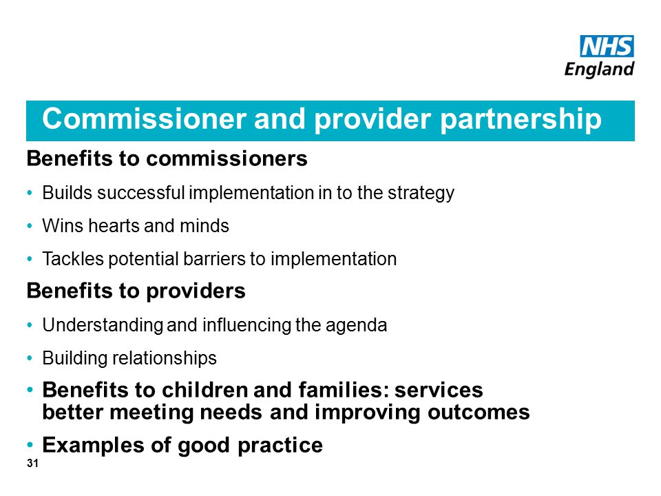 Commissioner and provider partnership
