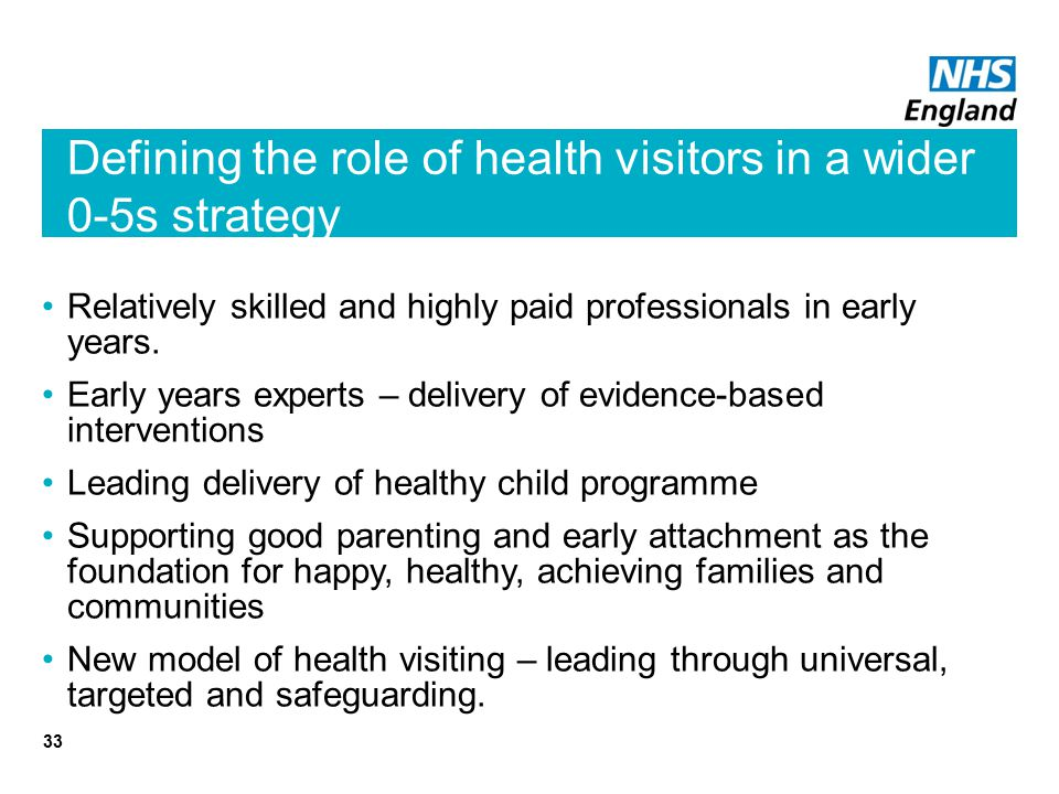 Defining the role of health visitors in a wider 0-5s strategy