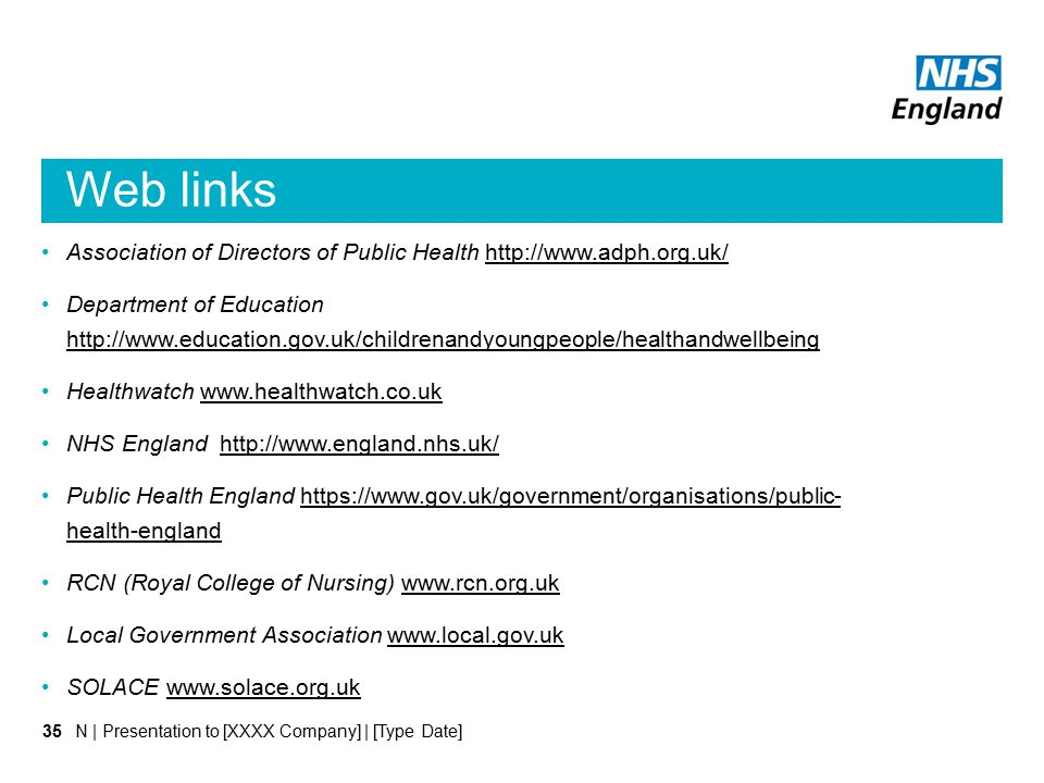 Web links Association of Directors of Public Health http://www.adph.org.uk/