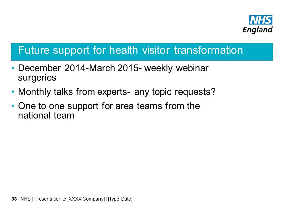 Future support for health visitor transformation