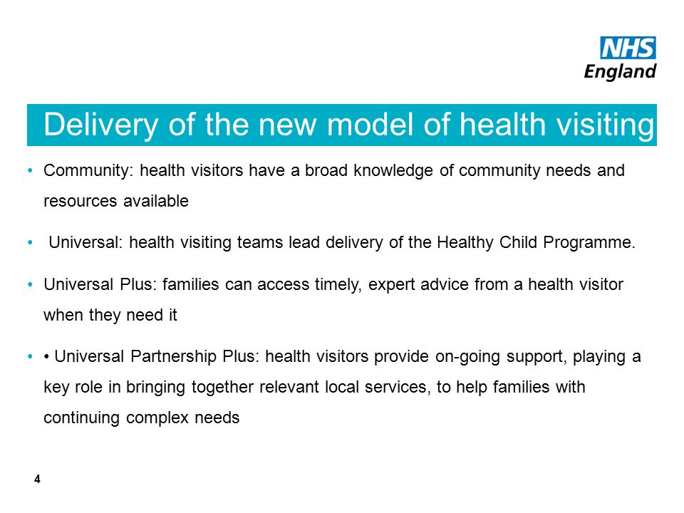 Delivery of the new model of health visiting
