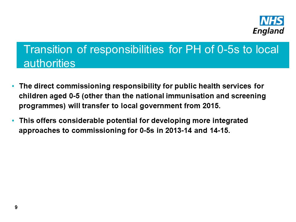 Transition of responsibilities for PH of 0-5s to local authorities